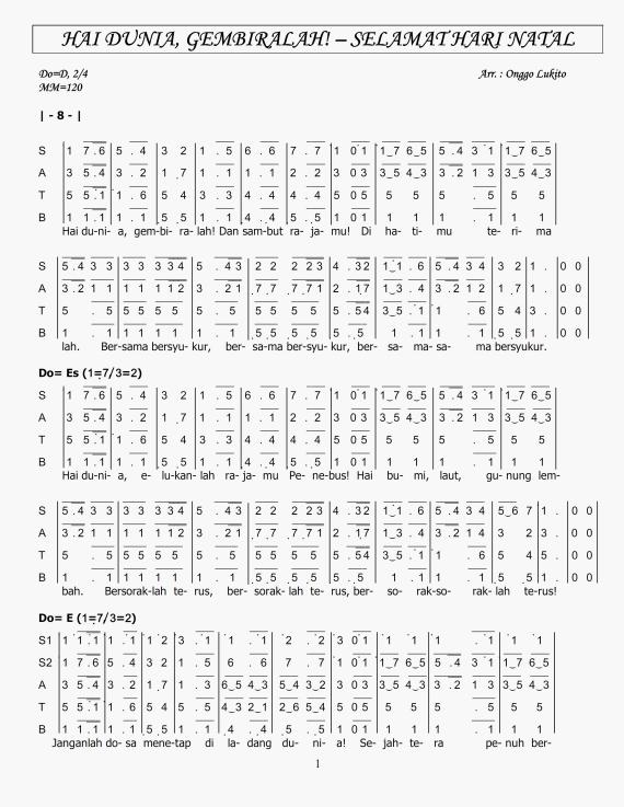 Image Result For Partitur Koor Satb Natal
