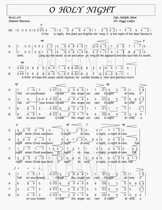 Image Result For Partitur Paduan Suara O Holy Night